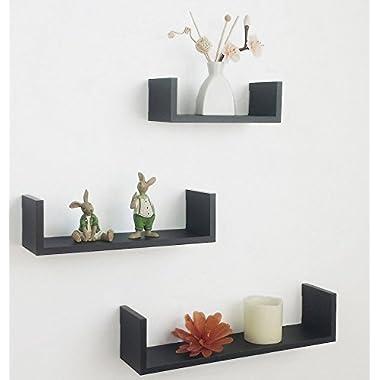 Shelving Solution Set of 3 Floating U Shelves (Black)