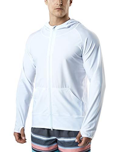 (TSLA Men's UPF 50+ Zip Swim Front Long Sleeve Top Rashguard, Zip Hoodie(msz05) - White, Medium)