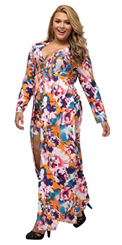 La Vogue Robe Maxi Manche Longue Grand Taille Combishort Col V Femme Floral