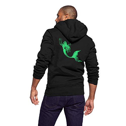 Sportswear Full Zip Up Club Fleece Hoodie Midweight Zip Front Hooded Sweatshirt Jacket for Men Man - Cool Galaxy Green Mermaid -