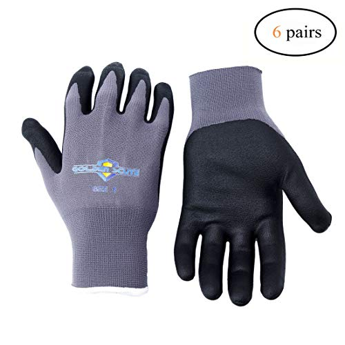 Golden Scute Micro-Foamed/Ultra-Thin Nitrile Coated Work Glove, Touchscreen Technology, Safety Gloves for Landscaping, Material Handling, Gardening, Assembly, 6 Pairs (Medium/Size 8)