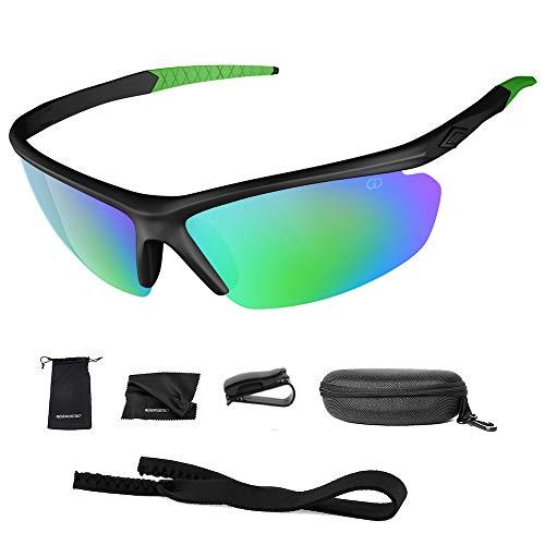 Polarized UV400 Sport Sunglasses Anti-Fog Ideal for Driving or Sports Activity (Green, Rainbow Greeen)