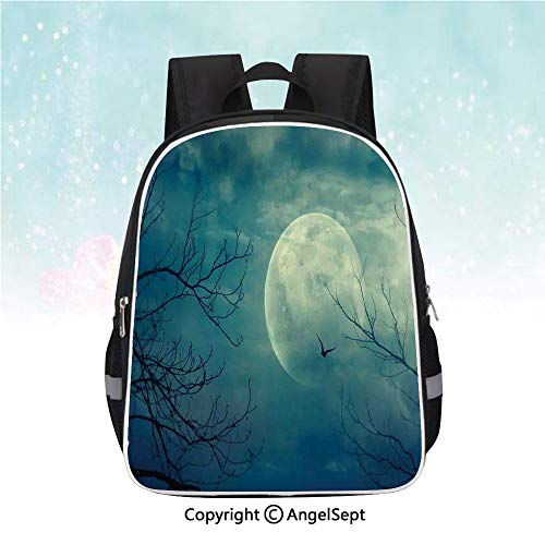 Nylon Fabric Backpack,Halloween with Full Moon in Sky