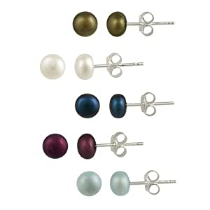 Sterling Silver Multi Color 5-6mm Freshwater Cultured Pearl Stud Earrings (Set of 5)