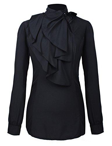 PrettyGuide Women Stand-Up Collar Lotus Ruffle Shirts Blouse Ruffle Black S