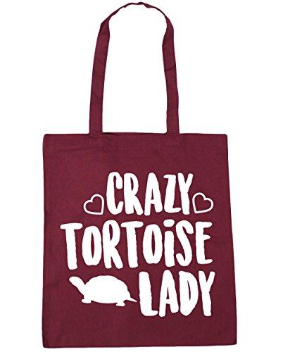 HippoWarehouse Crazy tortoise lady Tote Shopping Gym Beach Bag 42cm x38cm, 10 litres Burgundy