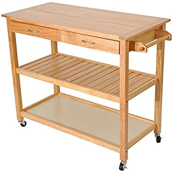 homcom 45 u201d wood kitchen utility trolley island cart amazon com  home styles 5216 95 solid wood top kitchen cart      rh   amazon com