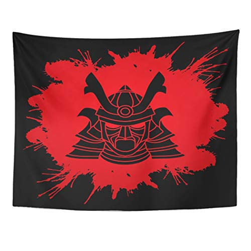 (Emvency Tapestry Artwork Wall Hanging Warrior Samurai Mask Designed on Splash Blood Graphic Angry Armour Asia Asian Attack 60x80 Inches Tapestries Mattress Tablecloth Curtain Home Decor)