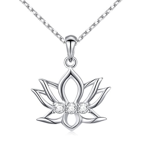 "LINLIN FINE JEWELRY Lotus Necklace 925 Sterling Silver White CZ Reminders Yoga New Beginnings Om Lotus Pendant Necklace Gift Women, 18"" Rolo Chain"