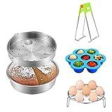 Instant Pot Accessories,1 Cooking Tray +1Vegetable Steamer Pan+ 1Egg Steamer Rack Trivet+1 Egg Bites Molds+1Bowl Dish Clip,5pcs Steamer Basket Rack Set Fits 6,8 Qt Pressure Cooker