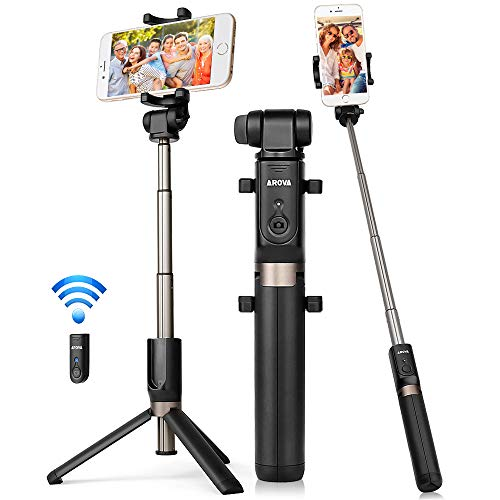 AROVA Selfie Stick Tripod Bluetooth, Extendable Selfie Stick with Wireless Remote & Tripod Stand Compatible with iPhone X/8/8P/7/7P & Galaxy S9/S9 Plus/Note 8/S8/S8 Plus/More, Gift Pouch Included