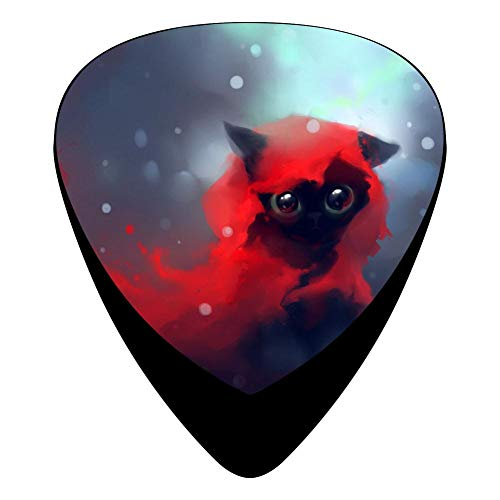 Red Cute Black Cat Guitar Picks Plectrums 12-Packs Music Design Celluloid 3 Sizes Thin Medium Heavy