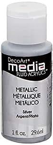Deco Art Media Fluid Acrylic Paint, 1-Ounce, Silver