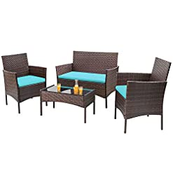 Garden and Outdoor Homall 4 Pieces Outdoor Patio Furniture Sets Rattan Chair Wicker Set, Outdoor Indoor Use Backyard Porch Garden Poolside…