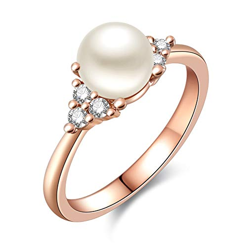 COOENS Jewelry Luxurious 18K Rose Gold Plated Articifical Freshwater Pearls Ring Wedding Anniversary Engagement Ring For Women