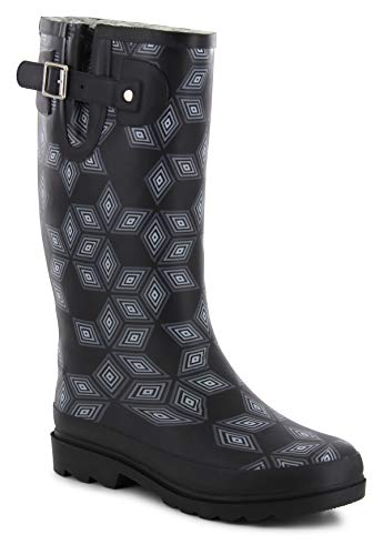 Western Chief Women Women's Printed Tall Rain Boot, Fleece Lined Cu, 7 M US