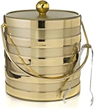 Hand Made In USA Matte/Shiny Brushed Gold Stripes Double Walled 3-Quart Insulated Ice Bucket With Ice Tongs (M
