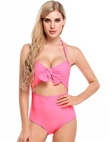 Ekouaer Womens High Waist Bathing Suit Cutout One Piece Swimsuit Vintage Swimwear