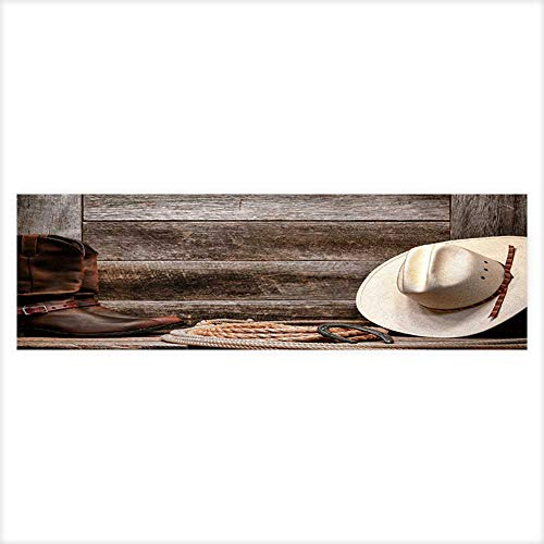 Jiahong Pan Decorative Aquarium Arodeo Traditional White Straw Cowboy hat with Authentic Western Lariat Lasso and Roper Aquarium Sticker Wallpaper Decoration 29.5