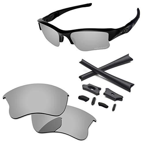 PapaViva Lenses Replacement & Rubber Kits for Oakley Flak Jacket XLJ Chrome Silver - Polarized ()