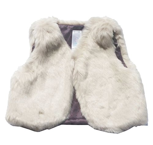 Infant Baby Girls Faux Fur Vest Outerwear Off White Top