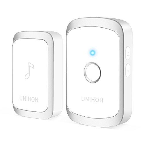 Wireless Doorbell,Waterproof Door Bells & Chimes - 1000ft/300m Operating Range with LED Flash, 4 Levels Volume, 36 Ringtones, Ring Doorbell - Easy Installation by Unihoh