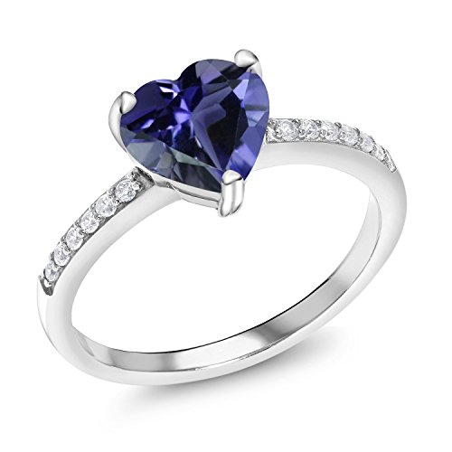 1.39 Ct Heart Shape Blue Iolite 925 Sterling Silver Ring (Size 6) (3 Stone Iolite Ring)