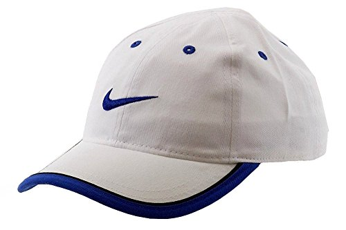 Nike Boys Embroidered Swoosh Baseball Hat 4/7, White/Game Royal Blue (Embroidered Softball Cap)