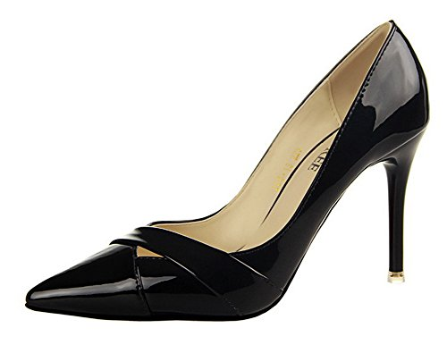 No.66 Town Women's Stiletto High Heel Dress Pumps Court Shoes Black WmYWtv1mQ