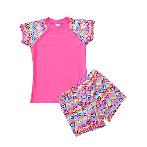 DAYU Girls Two Piece Swimsuit UPF 50+ UV Protective Rash Guard Set, Heart Print, Size 6-6X