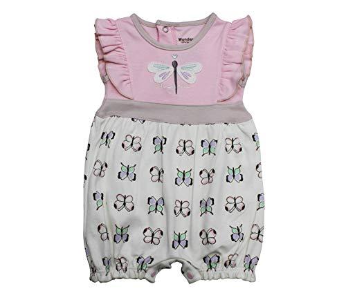 Wonderchild Baby 100% Cotton One Piece Half Romper, Pink/Beige/Ecru, 0-3 Months