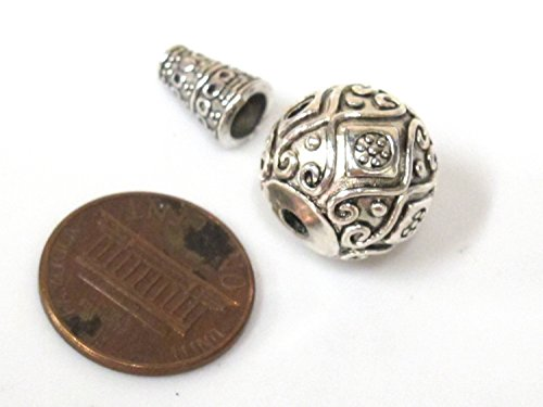 2 Guru beads - Large size 14 mm x 15 mm Tibetan silver 3 hole Guru Bead with column bead dotted floral heart design - GB059s ()