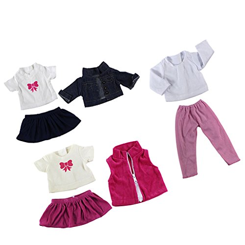 Jili Online 3set Cute Dress Skirt Shirt Outfit for 18'' American Girl Doll Journey Doll Clothes Accs