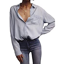 Women's Loose Shirt Long-Sleeved Tops Fashion Casual Button Cotton Denim Blouse