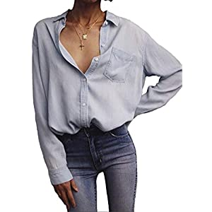Tsher Light Blue Loose Shirt Long-Sleeved Tops Fashion Casual Button Cotton Denim Blouse 5005-1