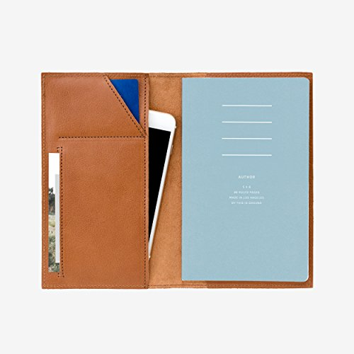 Medium:100% Real Italian Leather Notebook Cover - holds Smartphone & Notebook by This Is Ground (Field Medium Bag)