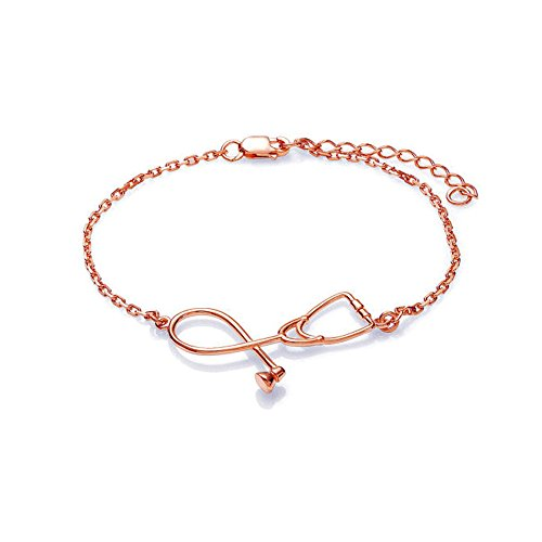 Dcfywl731 Rose Gold Silver Stethoscope Lariat Necklace,Heart and Stethoscope Pendant for Doctor Medical Student Gift,The Doctor Nurse Jewelry (Rose Gold Bracelet)
