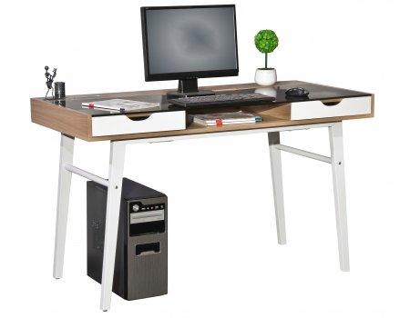 Escritorio Easy Flow I nogal/blanco HJH Office: Amazon.es: Hogar