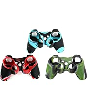 Skin Silicone Grip Cover Case for Sony PS3 Controller Playstation 3 Dualshock Wireless Game Controllers 3pack(blue,green,red)