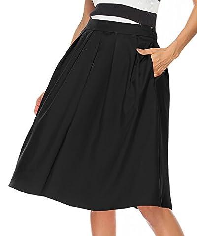 REGAI Women's High Waisted A line Skirt Skater Pleated Full Midi Skirt Black-L (Midi Skirt Black)