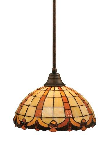 - Toltec Lighting 26-BRZ-989 Stem Pendant Light Bronze Copper Finish with Butterscotch Tiffany Glass, 15-Inch