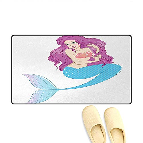 - Bath Mat,Cute Mermaid Playing with Her Hair Folkloric Mythical Goddess Princess,Door Mats for Home,Turquoise Fuscia White,Size:24