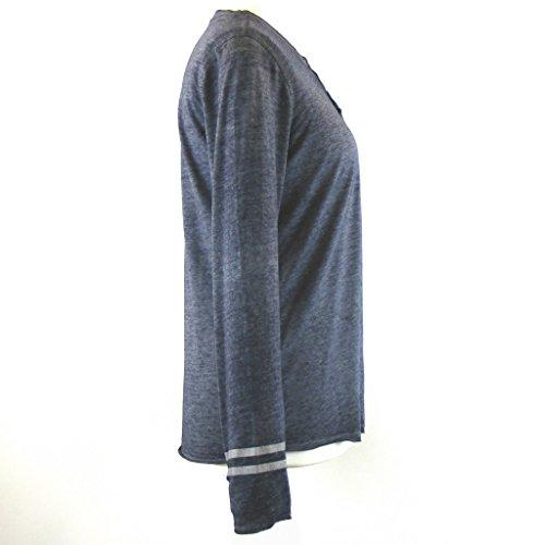 CECIL Damen Shirt blau grau 13689 Baumwolle Polyester Knopfleiste Langarm