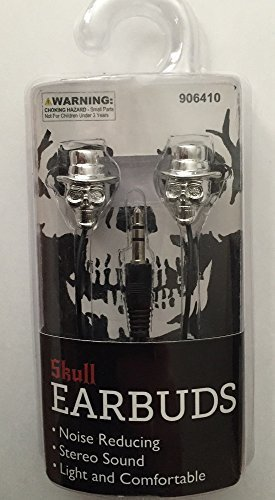Skull with Hat Earbuds - Silver Color ~ In-Ear, Noise-Reducing, Stereo Sound Quality Ear buds for MP3, CD Player, and Smartphones with a 3.5 mm Jack -