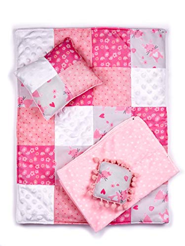 DreamWorld Collections - Quilt - 4 Piece 18 inch Doll Bedding Set - Fits American Girl Doll and Other 18 inch Dolls (Dolls not Included) ()