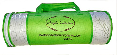 100% Bamboo Fiber Memory Foam Hypoallergenic & Naturally Antibacterial Pillow (Queen) for Neck & Back Pain. Great for Body Support