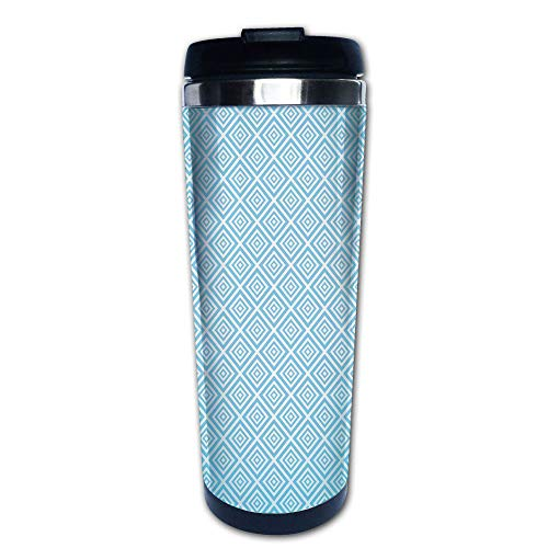 (Stainless Steel Insulated Coffee Travel Mug,Diagonal Nested Squares Pattern Retro Aqua Marine,Spill Proof Flip Lid Insulated Coffee cup Keeps Hot or Cold 13.6oz(400 ml) Customizable printing)