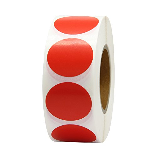 Hcode 1 Inch Color Coding Label Round Writable Colorful Stickers Circle Adhesive Dots Paper Labels 1000 Pieces (1 roll, red)