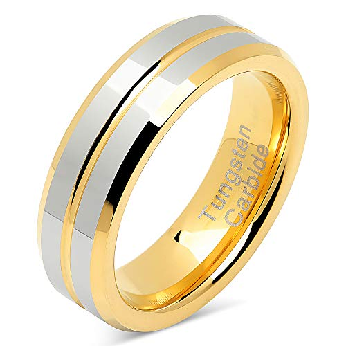 100S JEWELRY 6mm Tungsten Rings for Men Women Two Tone Gold Silver Mirror Finish Wedding Band Size 5-13 (6.5) ()