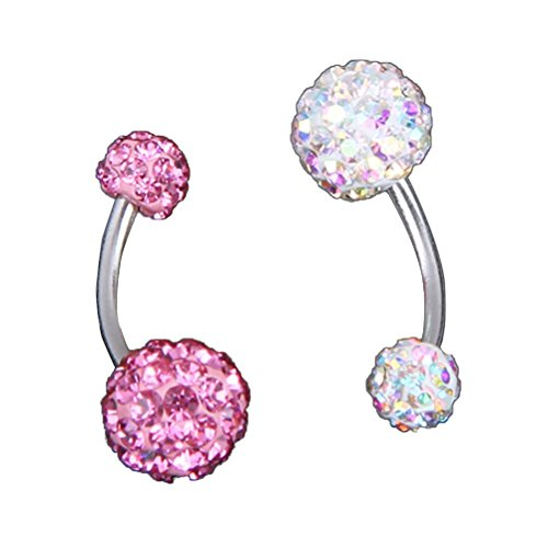Tinksky Belly Button Rings Stainless Steel Crystal Rhinestone Belly Navel Ring Body Jewelry Piercing Pack of 2 (Crystal Stone Belly Button Rings)